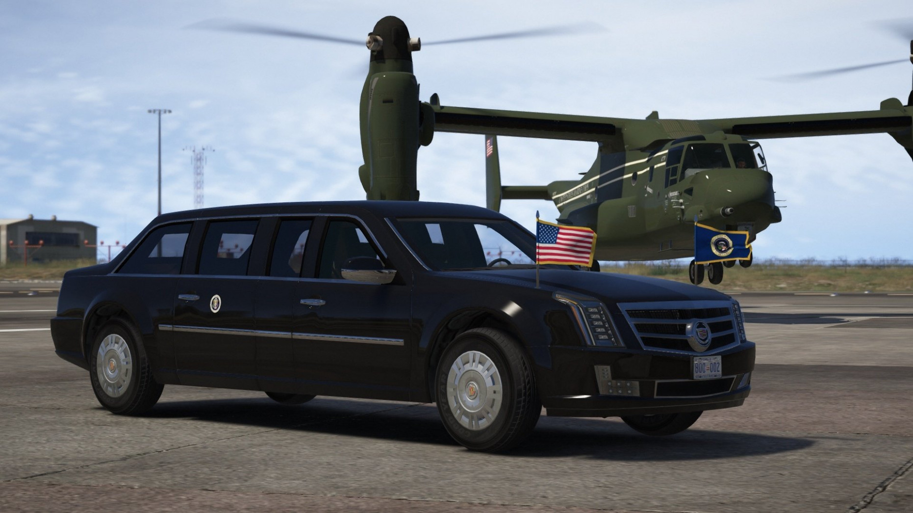 """Cadillac """"The Beast"""" Presidential State Car [Waving flags 